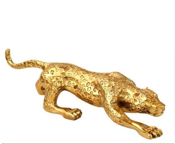 Brass leopard Zhaocai large car decoration living room office