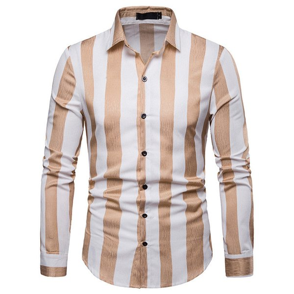 Young Man Casual Striped Shirt Turn-down Collar Long Sleeve Blouse Spring Wear Tops High Quality Polyester Clothing Men Shirts