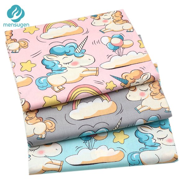 Mensugen Pink Grey Unicorn Clouds Cotton Fabric Meters for Quilting Crib Bumper Sewing Cloth Pillow Tissue for Dresses