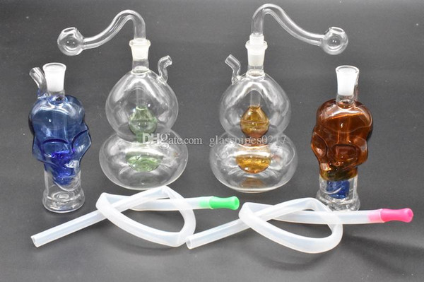 2pcs Gourd skull shape Glass Bongs with diffuser downstem perc dab oil rig glass Water Pipes 10mm joint oil burner pipe and hose