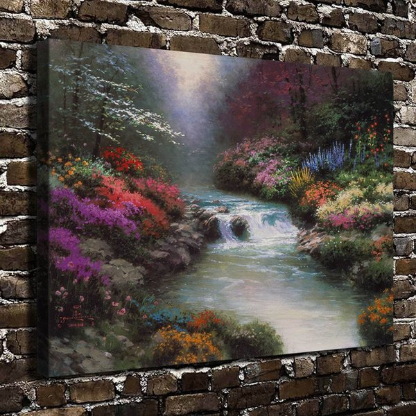 Thomas Kinkade,Beside Still Waters Scenery,1 Pieces Canvas Prints Wall Art Oil Painting Home Decor (Unframed/Framed)