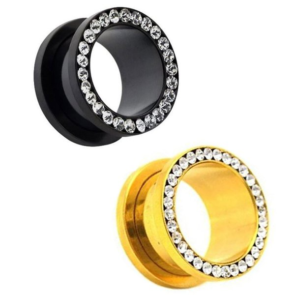 Venta al por mayor de gema Ear Gauge Plugs acero inoxidable oro plateado CZ Rhinestones Rim Screw Fit Flesh Tunnels 80pcs SRP004
