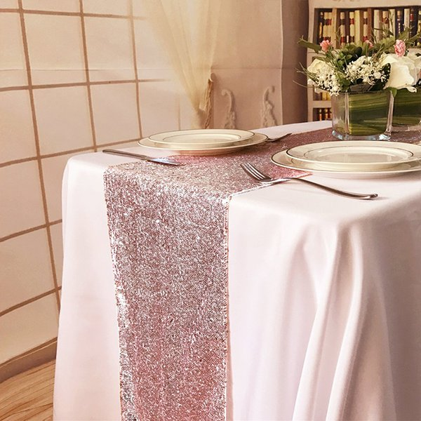 1piece 30x275cm 30x180cm Gold Rose Gold Silver Sequin table runner for Party table cloth Weddings Decoration Runners