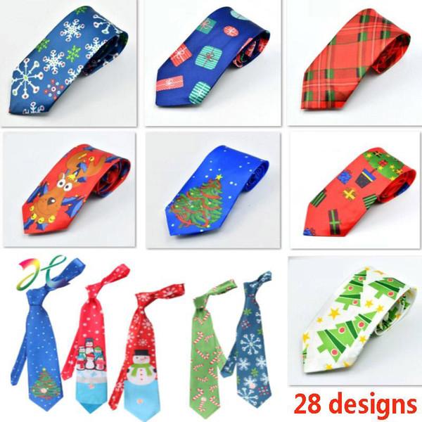 Christmas Neck Tie For Santa Claus Snowman Reindeer Christmas Tree Men Women Print Party Dress Up Tie Xmas Decoration