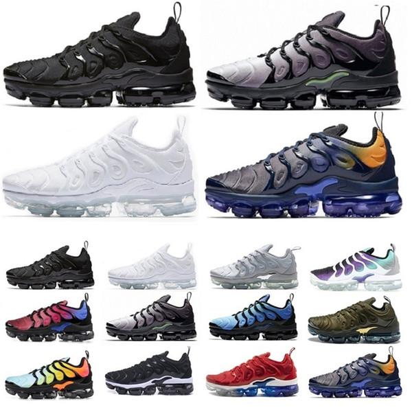 Yeni Gelenler Ile kutusu Tn Artı Koşu Ayakkabıları Run Ayakkabı Siyah Beyaz Tns Eğitmenler Yürüyüş Spor Atletik Sneakers Eur36-45