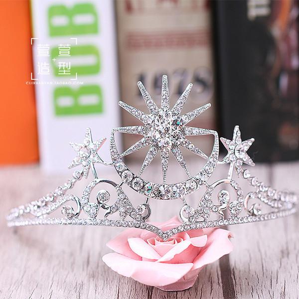 Fashion Crystal Star Baroque Queen Crown Rhinestone Tiara For Brides Wedding Hair Jewelry Y19051302