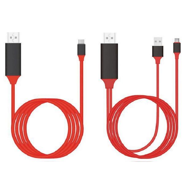 HDTV Cable 1080P Tipo C a HDMI Convertidor Adaptador Pantalla Cable de espejo Adaptador HDTV Plug and Play Para Type-C IX 100PCS / LOT