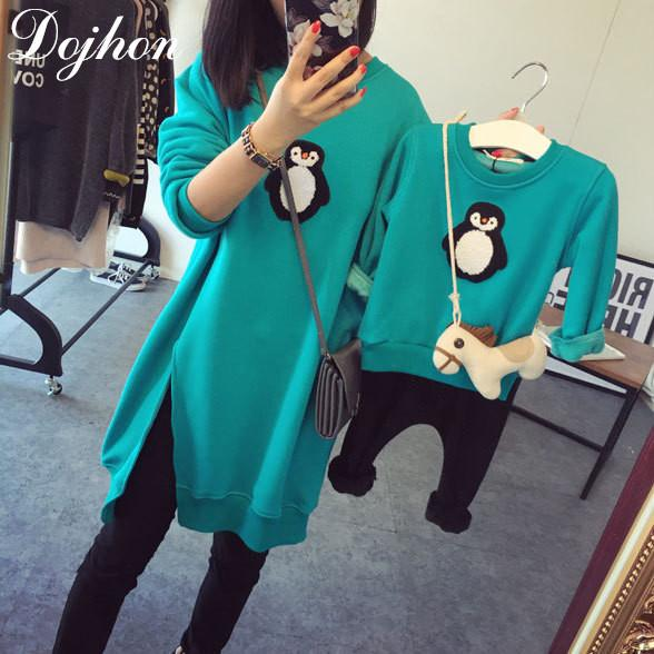 New Family Matching Outfits T Shirts Mother Kids Girl Boys Shirts Penguin Clothes Mother Son Outfits Long-sleeve Family Look J190517