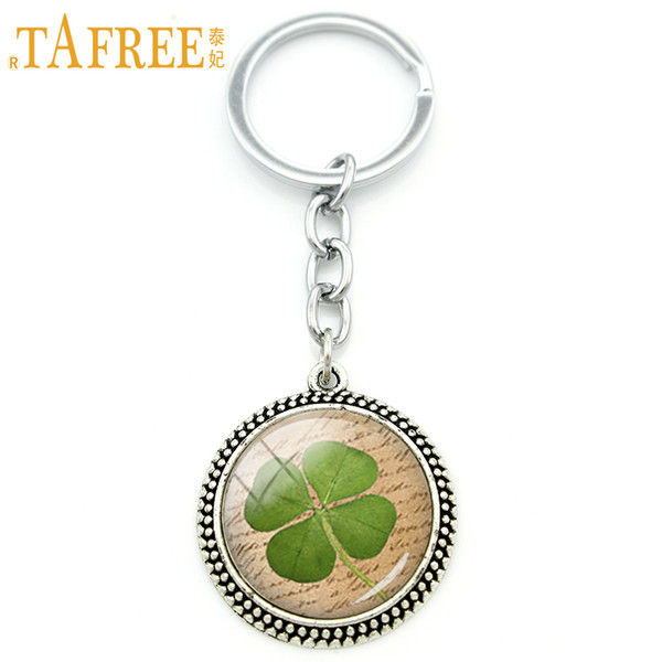 TAFREE Fine men and women jewelry keychain Lucky Four Leaf Clover art picture pendant key ring bride bridegroom jewelry KC227