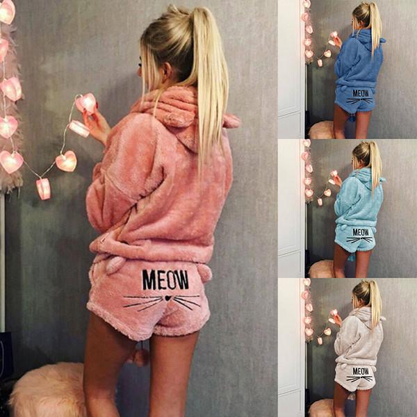 Femmes pyjamas ensemble automne hiver chaud pyjamas femmes polaire Pijamas femmes Lingerie Sexy Chat Pyjama Femme Vêtements de Nuit Sexy NightwearMX190822