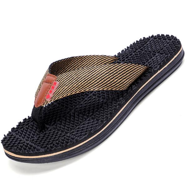 Sandalias de playa para hombre Unisex Baño Zapatillas de interior con impresión de fondo grueso Suave Diapositivas planas Pareja Flip Flop exterior Zapatos de hombre