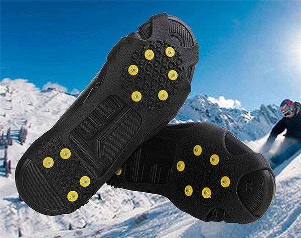 Snow Cleats Ice Traction Cleats Grips Grippers Gabbers ten Teeth Anti Slip Crampon Ice Grips Snow Climbing Shoe Spike Cleats Shoes Cover