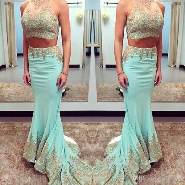 Two Pieces Dresses Party Evening Gowns Sheer Neck Gold Applique Mermiad Prom Dresses Sweep Train Satin Celebrity Formal Homecoming Dress