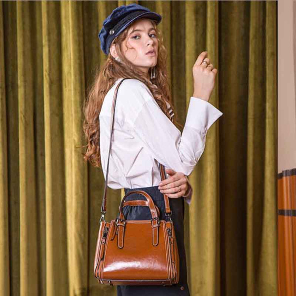 Large Capacity Female Bag Autumn And Winter European And American New Fashion Atmosphere Vintage Shoulder Leather Handbags Bag Messenger Bag