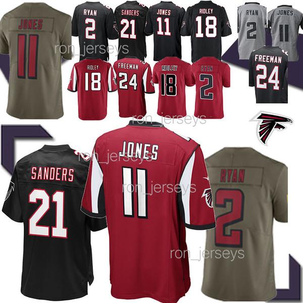 11 Julio Jones Atlanta Jersey 21 Deion Sanders Falcon 2 Matt Ryan 18 Ridley 24 Devonta Freeman vermelho balck Futebol jerseys 19 20