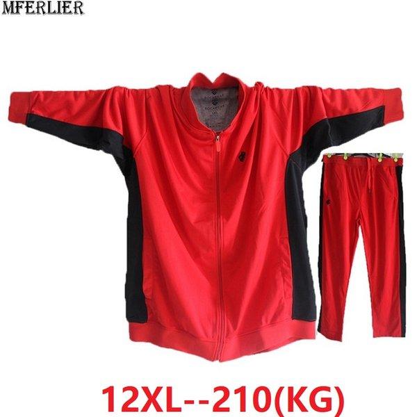 les hommes d'automne Vestes fermeture éclair hoodies sport tondent grande taille grande veste patchwork 9XL 10XL 11XL 12XL lâche 68 70 72