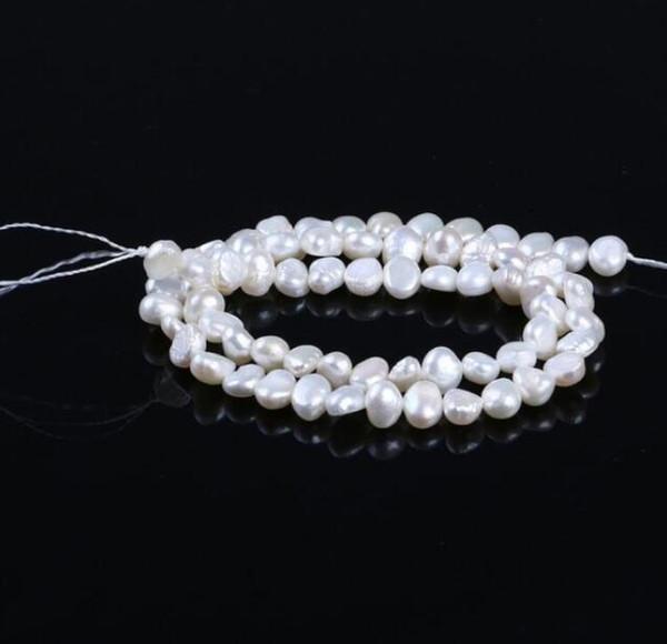 LIVRAISON GRATUITE 1 10pc Collier de perles d'eau douce naturelles semi-finies perles de 5-6mm