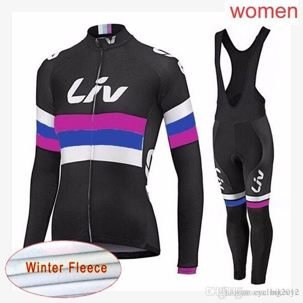 LIV team Cycling Winter Thermal Fleece jersey (bib) pants sets 2018 new Mountain Bike Sportwear women Ropa Ciclismo C2121