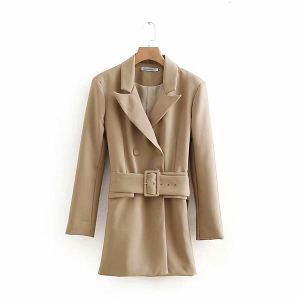 2019 Women Khaki Casual Spring Autumn Jacket Female Elegant Adjustable Waist With Belt Long Sleeve Outwear casaco feminino Y190905