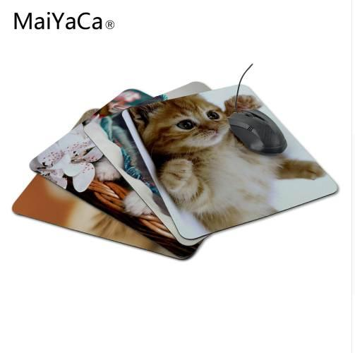 MaiYaCa New Square Cats Kittens White Background Silicon Mouse Pads 220mmX180mmx2mm Mat Mice Pad Drop