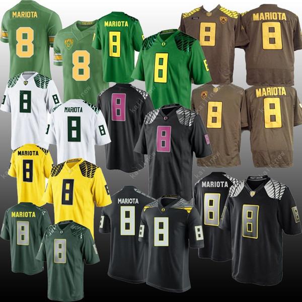Maglia NCAA Oregon Ducks 8 Marcus Mariota verde bianco Marrone nero Cucito a buon mercato ricamo Maglia college americano