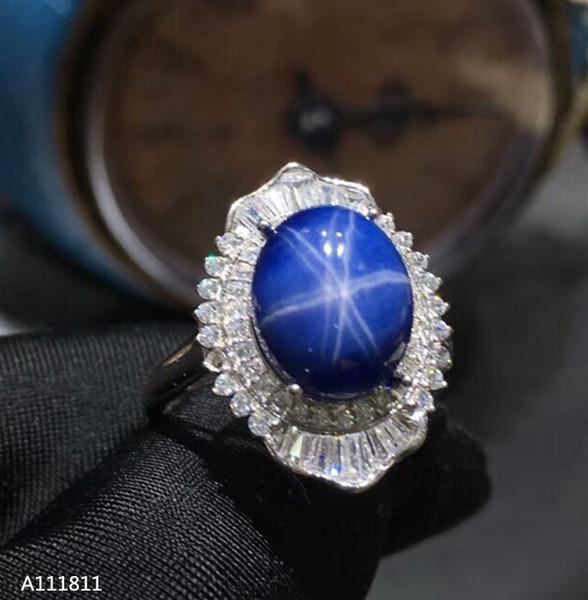 Kjjeaxcmy Edlen Schmuck 925 Reines Silber Eingelegten Natürlichen Saphir Damen Ring Unterstützung Test J190707