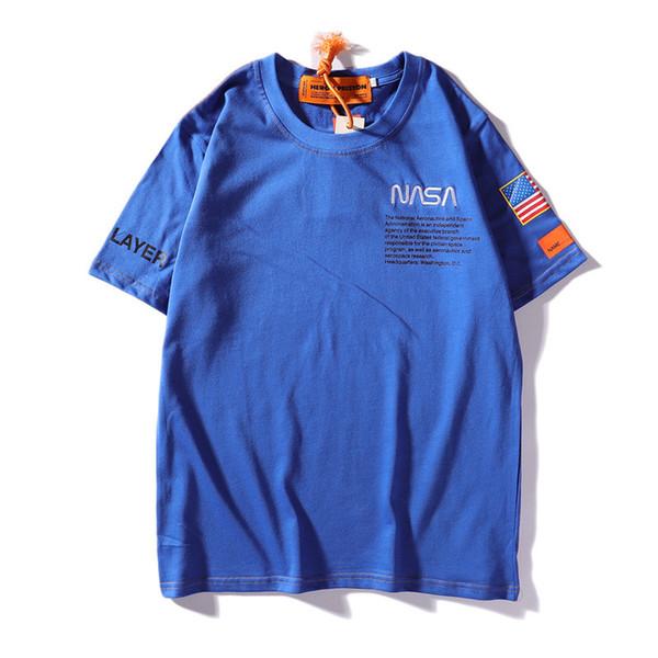 Erkek Tasarımcı Tişörtleri NASA X Heron Preston Marka T Gömlek Erkek Yaz Kısa Kollu T Shirt Emboridered Erkek Gömlek Streetwear Tops
