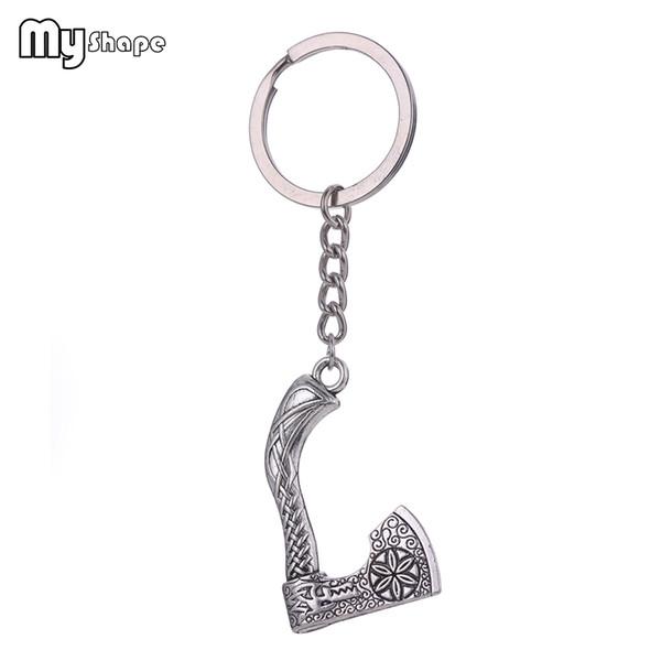 Meine Form Wikinger Axt Form Schlüsselanhänger Vintage handgemachte Knoten Schlüsselanhänger Tasche Auto Anhänger Schlüsselbund für Männer Antik Silber nordischen Stil