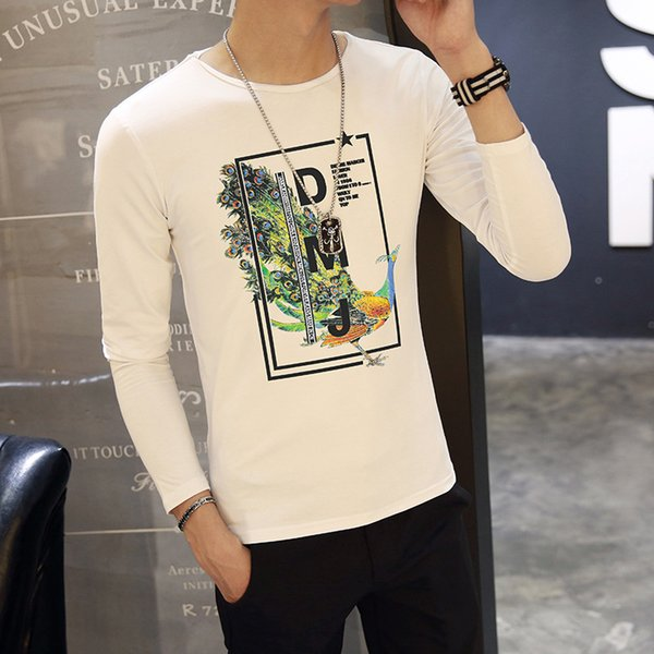 New Autumn 2018 Clothes Long Sleeve T-shirt for Men with Circle Neck Personality Trend Men's Decoration Body Korean Half Sleeve Trendy T-Ham