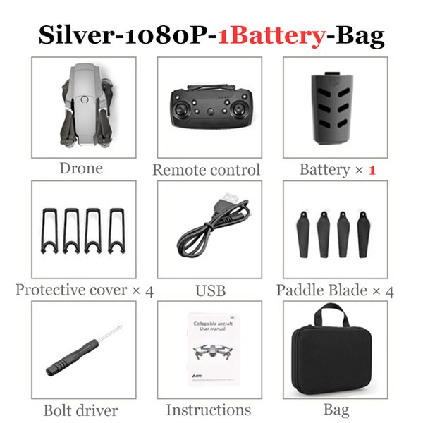 1080P - 1 배터리 - 가방 - 실버
