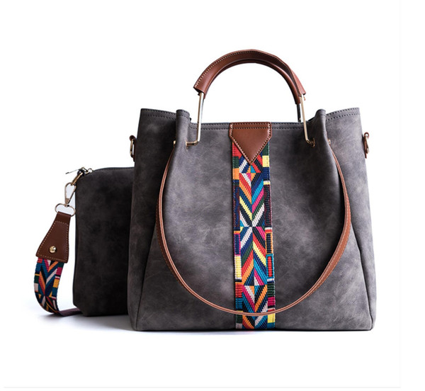 Women Composite Bags with Rainbow Straps Casual Handbag High Capacity Shoulder Bags 2PCS Bags Set Leather Lady Tote Wallet Clutch Purse JY14
