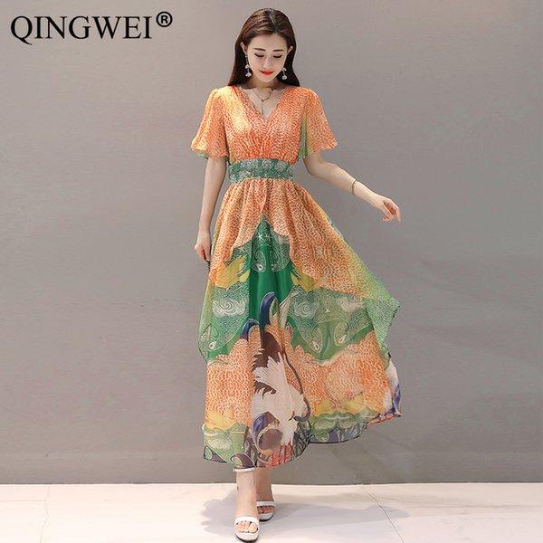 QINGWEI Vestido de verano 2019 Nueva versión coreana Moda Delgado con cuello en v Chiffon Gran péndulo Vestido largo elegante de la manga de la colmena