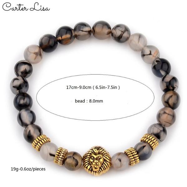 Carter lisa unisex ethnische goldsilber löwe perle meditation perlen armbänder gebet stretch yoga armbänder schmuck