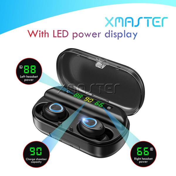 V10 Гарнитуры 8D Стерео HIFI Звук Quility TWS Bluetooth наушники Портативный дисплей xmaster бизнес Дизайн наушников с микрофоном LED