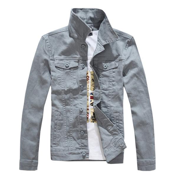 Denim Jackets Men Solid Color Jeans Jacket Slim Fit Denim Coat 2018 Fashion Jacket Yellow Black Green White Top for Men