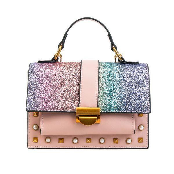 Women Sequin Shoulder Messenger Bag Shiny Glitter Chain Bag Pu Leather Flap Party Crossbody Bag Fashion Handbag Women