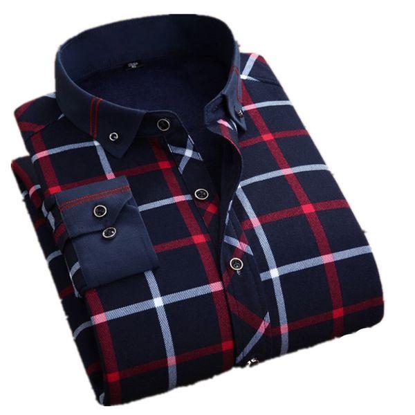 Winter Big Men 6XL 7XL 8XL Long Sleeve Velvet Thick Warm Shirt Plaid Business Casual Male Plus Size 48 Checkered Shirt Clothing #483783