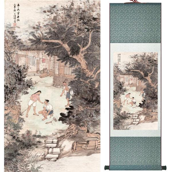Decoração de escritório em casa pintura rolagem chinesa aves pintura pintura chinesa pintura impressa 060402