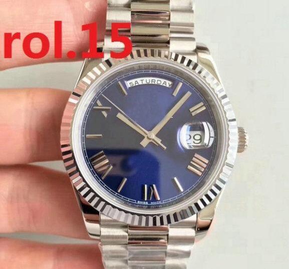 FECHA DÍA 41 mm Reloj mecánico de cuerda automática Oro Hombres Presidente de alta calidad Zafiro Relojes con cierre original Relojes de pulsera con esfera de Roma