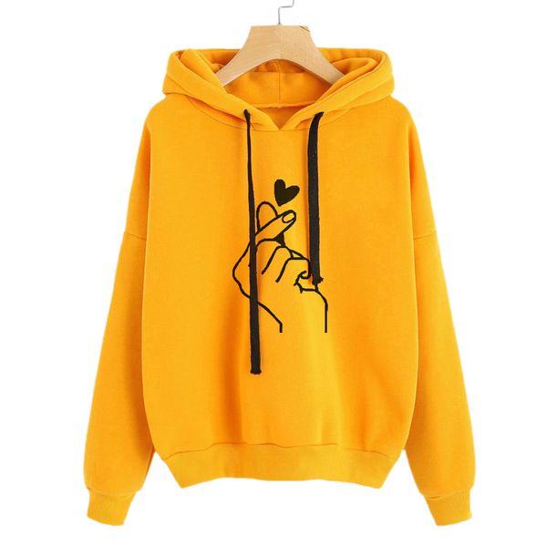 korean style women sweatshirt hoodies hooded polerones mujer pullovers hoody 2019 fashion tops women clothes LOVE gesture d90521