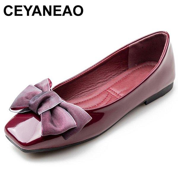 CEYANEAO2018 Bahar Yeni Moda Lüks Kadınlar Yumuşak Düz Kelebek Düğüm Ballet Flats Büyük boyut Düşük Topuklar Tasarımcı