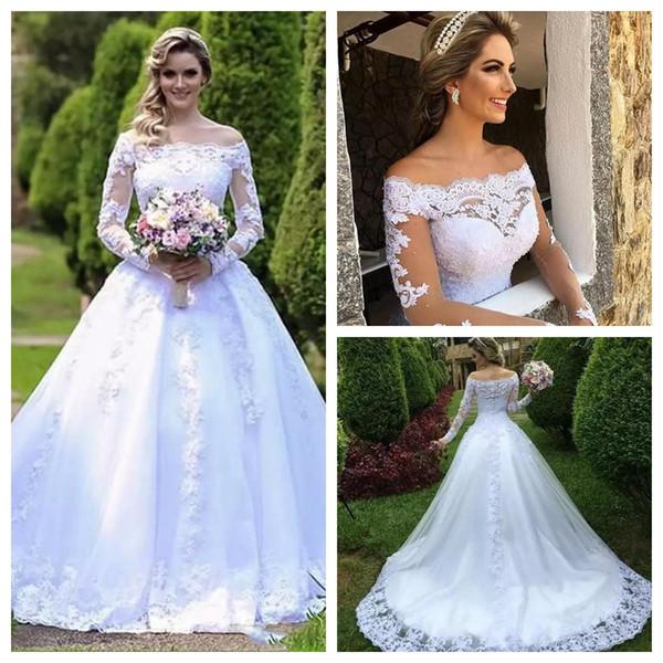 Vestidos De Novia Lace Ball Gown Wedding Dresses 2019 Off Shoulder