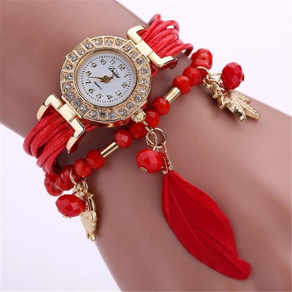 Retro Feather Weave Wrap Around Bracelet Watch Crystal Synthetic Fashion Chain Watch Women Girl cbayan saati horloge dames *L