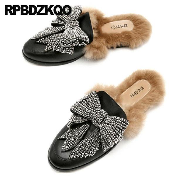 Punta redonda Negro Zapatos de diseño de gran tamaño Mujeres Lujo 2018 Arco 10 Diapositivas Diamantes de imitación de piel Zapatillas de cristal Diamante Mulas Pisos