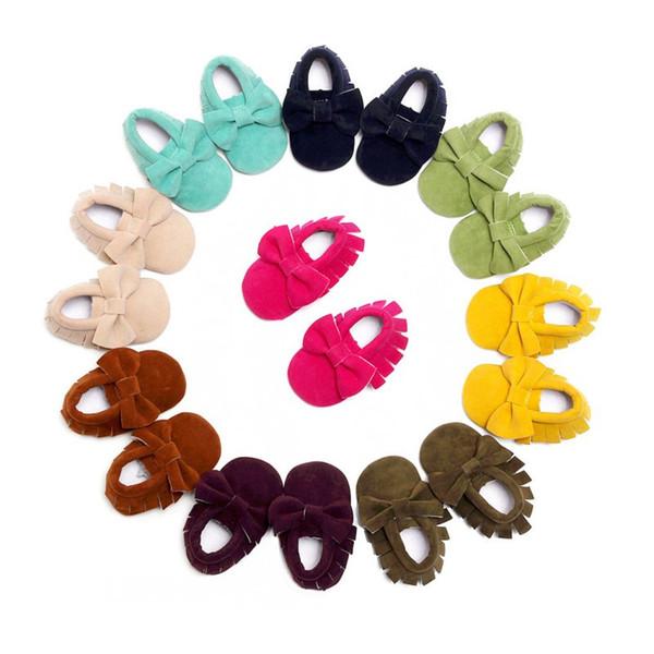 Yeni Yenidoğan Bebek Kız Bebek İlk Walkers Ilmek Öncesi walkers Beşik Yumuşak Ayakkabı Yumuşak Alt Püsküller Bebek Moccasin