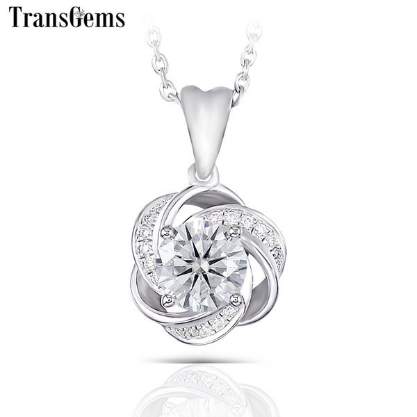 Transgems 14k 585 White Gold Center 1ct Moissanite F Colorless Pendant With Accents For Women Flower Shaped J 190427