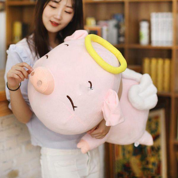 NEW Lovely 80cm Large Soft Cartooon Angel Pig Plush Toy 31'' Cute Lying Animal Pigs Stuffed Pillow Kids Doll Present