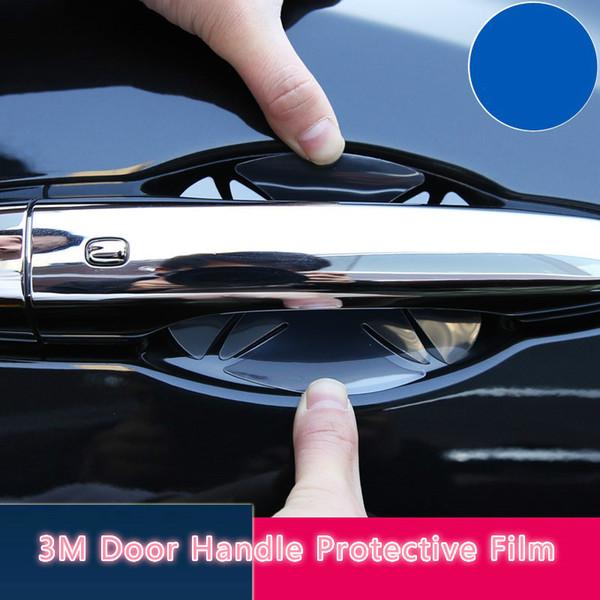 3 M 4 Adet / grup Kapı Kolu Koruyucu Film Araba Vücut Koruma Çıkartmalar Kapı Bilek Koruyucu Film 8.5 * 9.5 cm