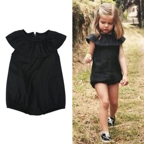 2017 nouvelle arrivée été bébé filles vêtements 0-5years enfants noir casual bébé barboteuse jumpsuit Combishort tenues
