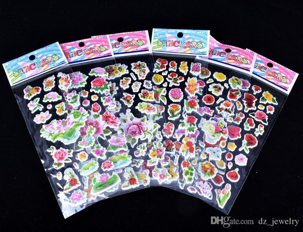 20 pcs/bag design 3D Cartoon Bubbles stickers 7*17cm party Decorative book Stickers paper game Children gift toys free shipping